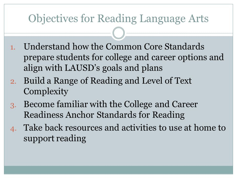 Objectives for Reading Language Arts 1.