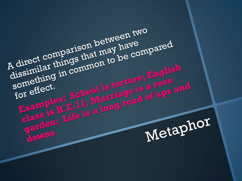 Metaphor A direct comparison between two dissimilar things that may have something in common to be compared for effect.