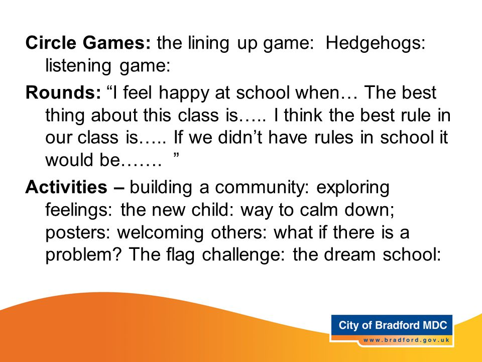 Learning opportunities Year 2 Circle Games: the lining up game: Hedgehogs: listening game: Rounds: I feel happy at school when… The best thing about this class is…..