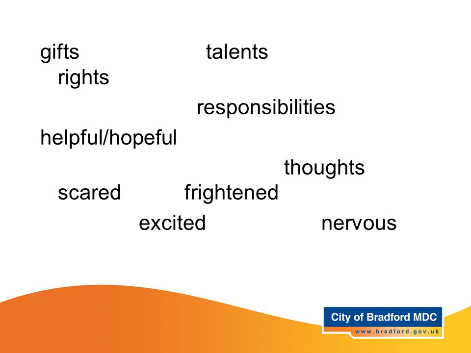 Key vocabulary – Years 3 and 4 gifts talents rights responsibilities helpful/hopeful thoughts scared frightened excited nervous