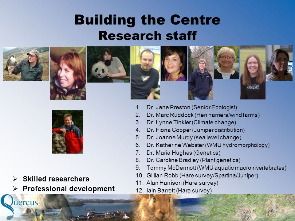 Building the Centre Research staff  Skilled researchers  Professional development 1.Dr.