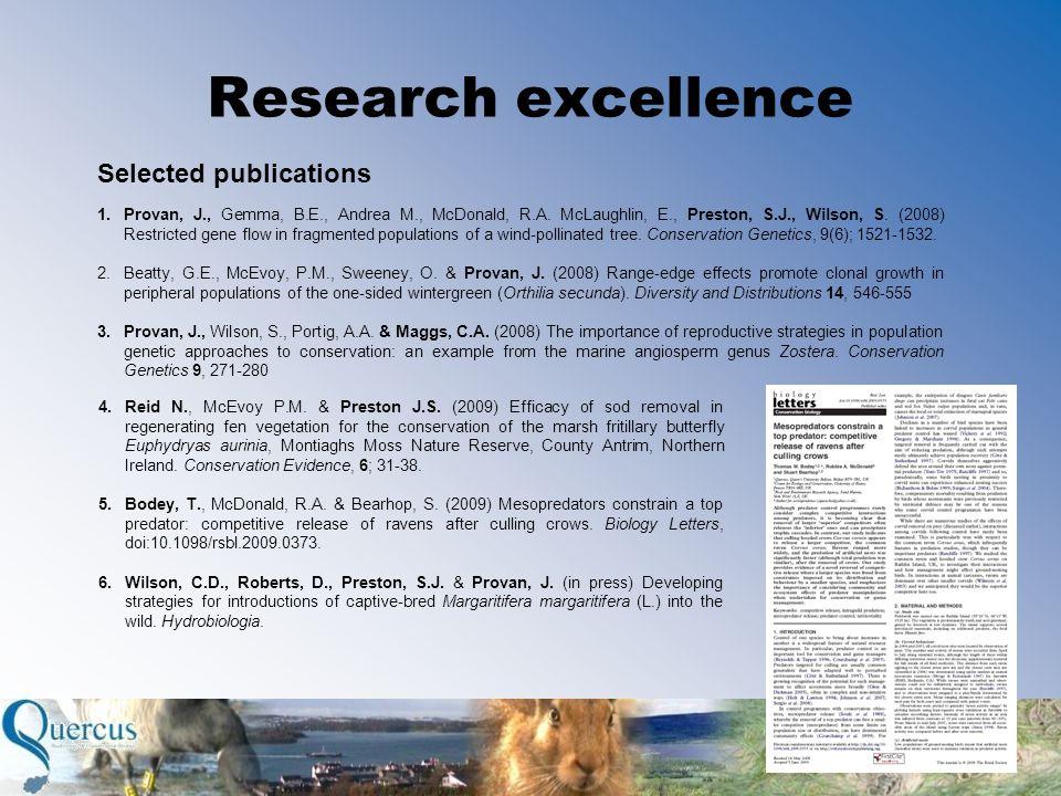 Research excellence Selected publications 1.Provan, J., Gemma, B.E., Andrea M., McDonald, R.A.