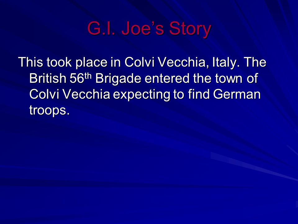 G.I. Joe's Story G.I. Joe is a pigeon hero.