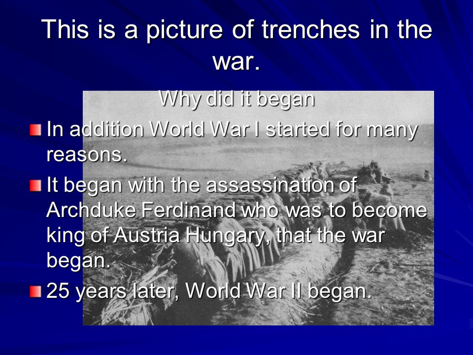 How the War Was Fought This war was fought in the trenches dug along each front.