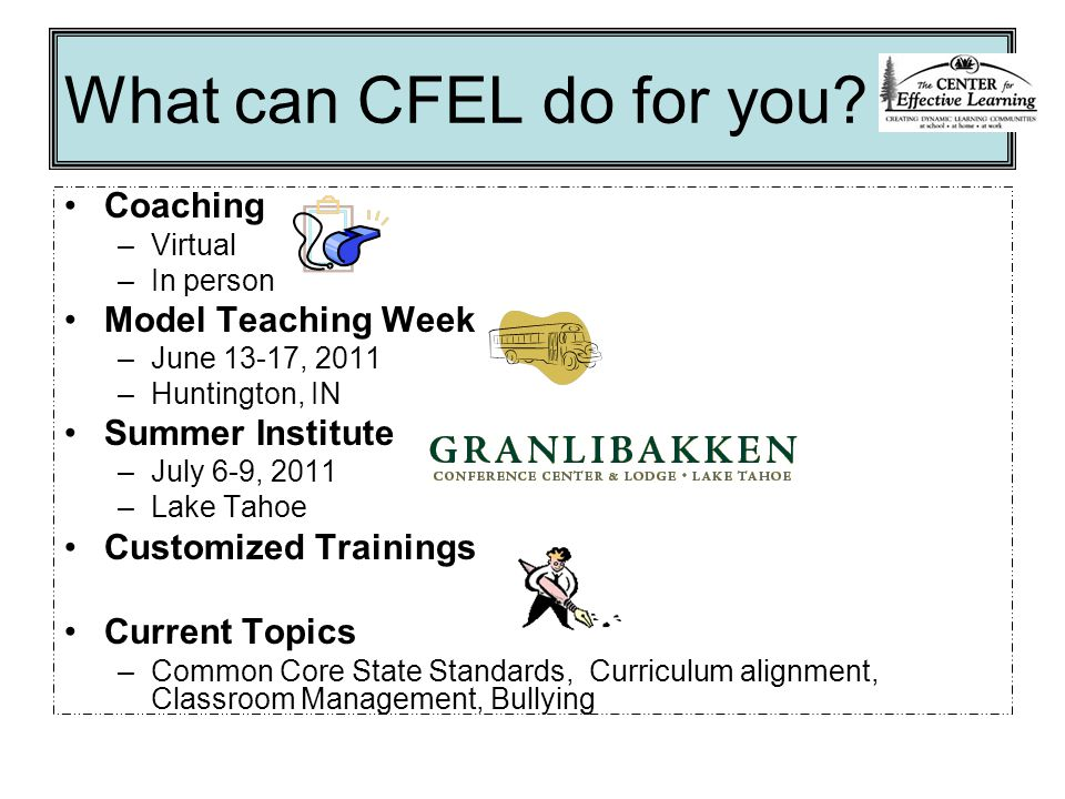 What can CFEL do for you.