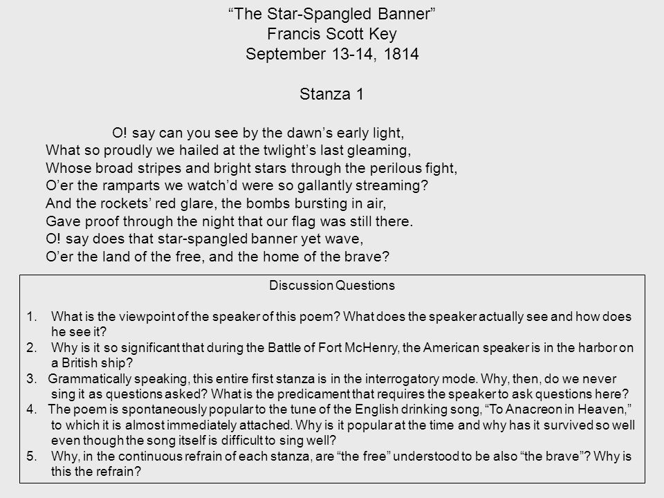 The Star-Spangled Banner Francis Scott Key September 13-14, 1814 Stanza 1 O.