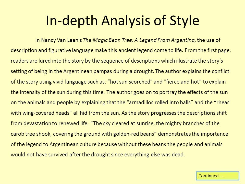 In-depth Analysis of Style In Nancy Van Laan's The Magic Bean Tree: A Legend From Argentina, the use of description and figurative language make this ancient legend come to life.