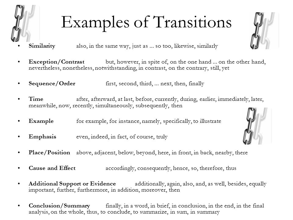 Examples of Transitions Similarityalso, in the same way, just as...