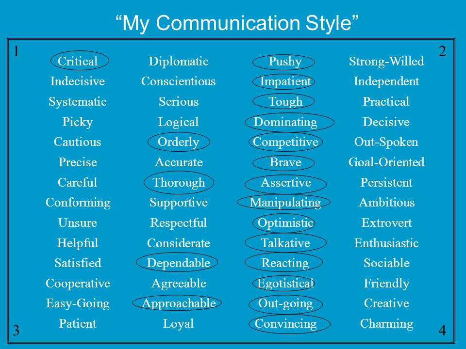 "12341234 ""My Communication Style"" CriticalDiplomaticPushyStrong-Willed IndecisiveConscientiousImpatientIndependent SystematicSeriousToughPractical Pic"