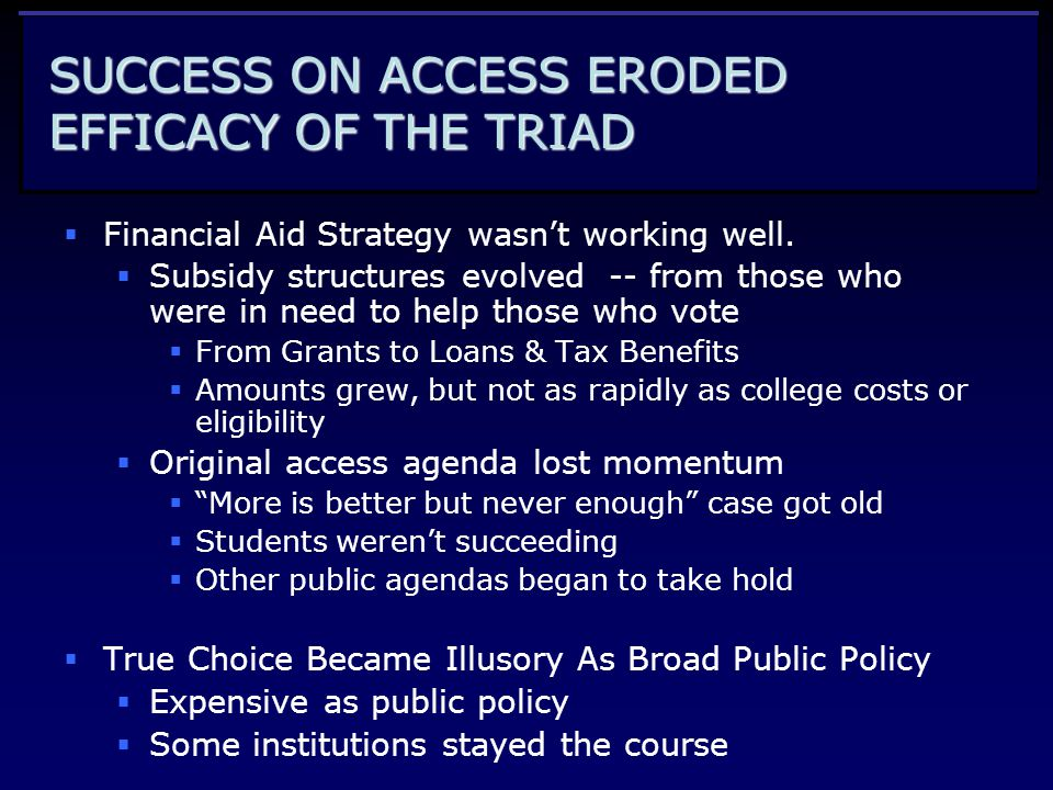 SUCCESS ON ACCESS ERODED EFFICACY OF THE TRIAD  Financial Aid Strategy wasn't working well.