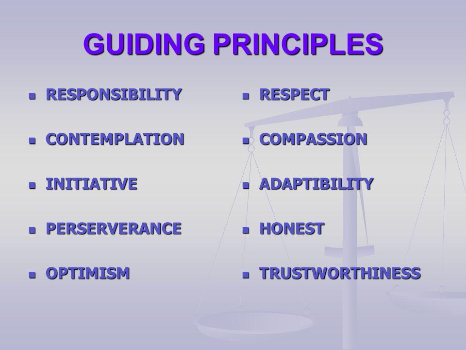 GUIDING PRINCIPLES RESPONSIBILITY RESPONSIBILITY CONTEMPLATION CONTEMPLATION INITIATIVE INITIATIVE PERSERVERANCE PERSERVERANCE OPTIMISM OPTIMISM RESPECT RESPECT COMPASSION COMPASSION ADAPTIBILITY ADAPTIBILITY HONEST HONEST TRUSTWORTHINESS TRUSTWORTHINESS