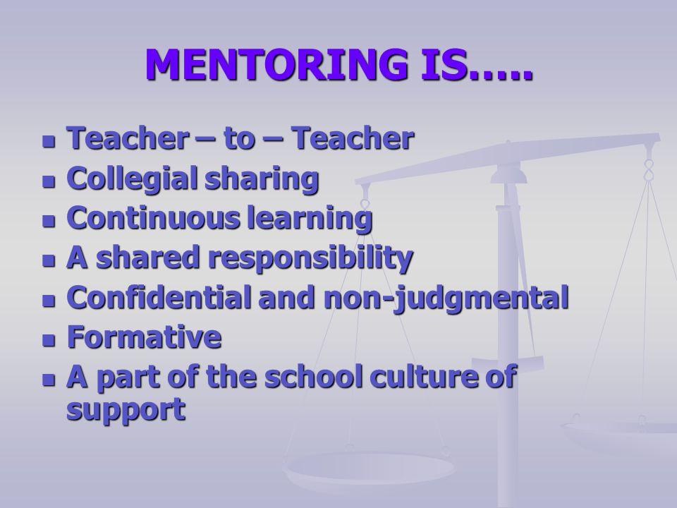 MENTORING IS….. Teacher – to – Teacher Teacher – to – Teacher Collegial sharing Collegial sharing Continuous learning Continuous learning A shared res