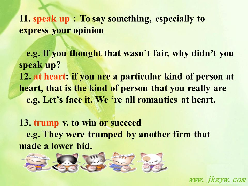 11. speak up : To say something, especially to express your opinion e.g.