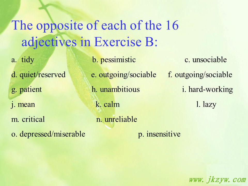 The opposite of each of the 16 adjectives in Exercise B: a.tidy b.