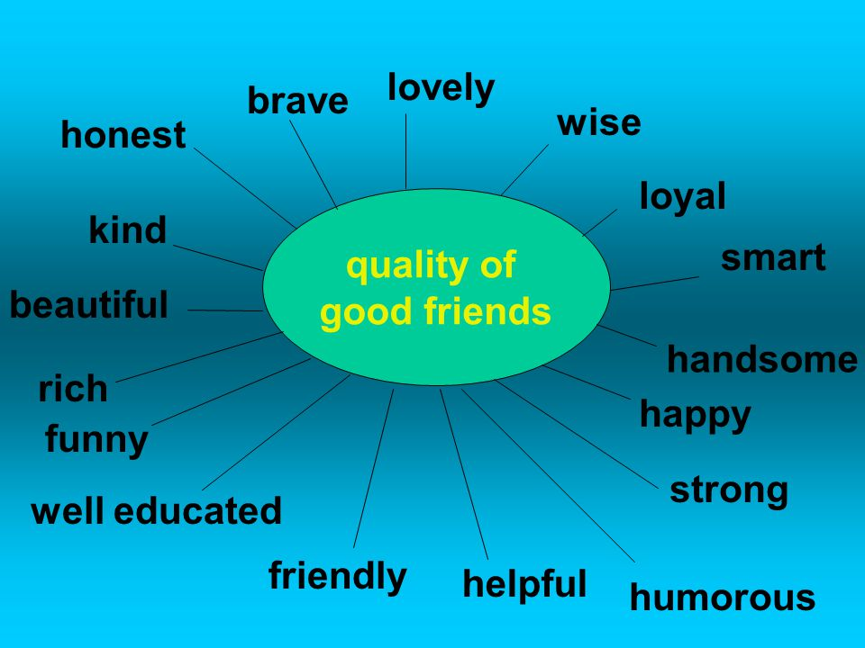 quality of good friends kind honest brave lovely wise loyal smart handsome happy strong beautiful rich funny well educated friendly humorous helpful