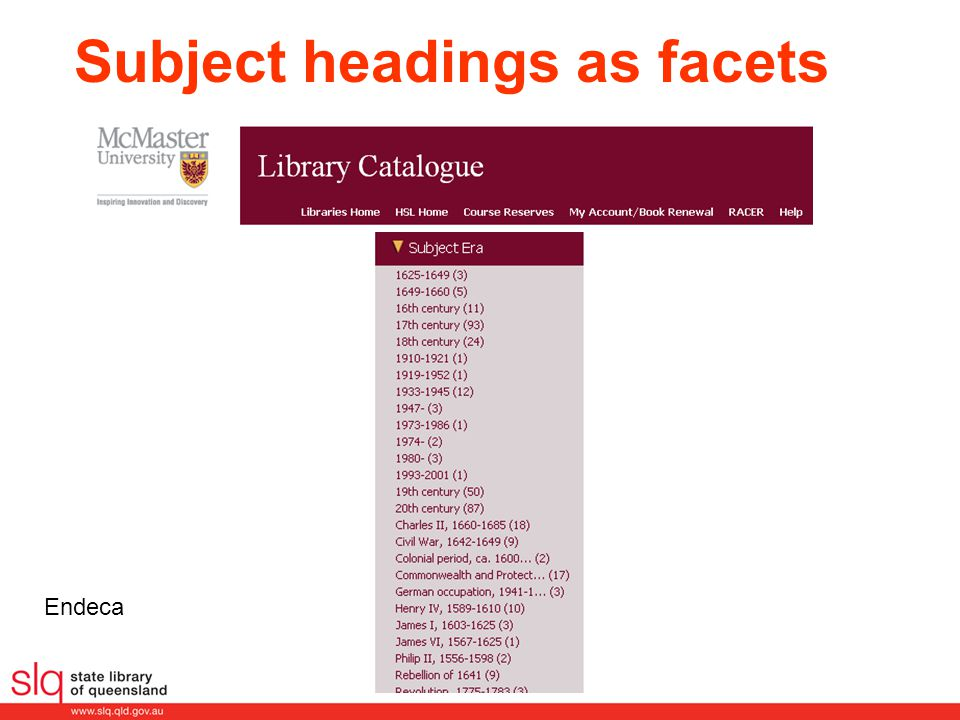 Endeca Subject headings as facets