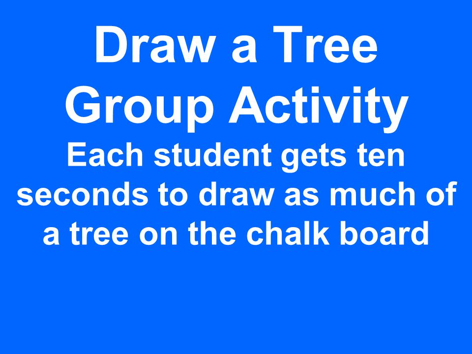 Draw a Tree Group Activity Each student gets ten seconds to draw as much of a tree on the chalk board