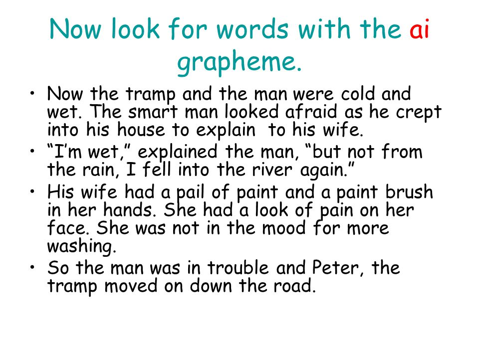 Now look for words with the ai grapheme. Now the tramp and the man were cold and wet. The smart man looked afraid as he crept into his house to explai