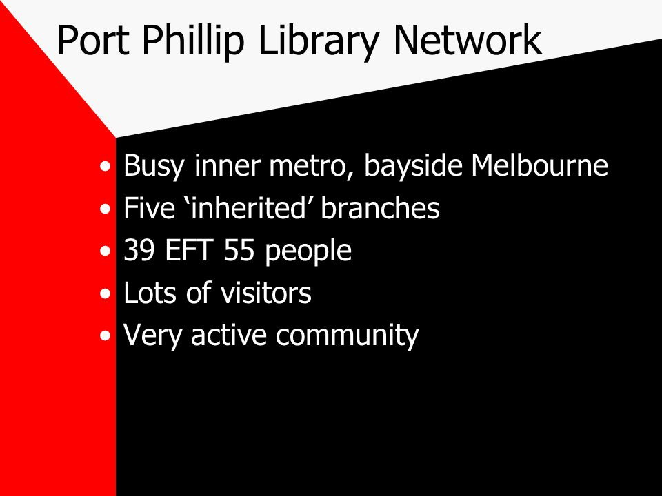 Port Phillip Library Network Busy inner metro, bayside Melbourne Five 'inherited' branches 39 EFT 55 people Lots of visitors Very active community