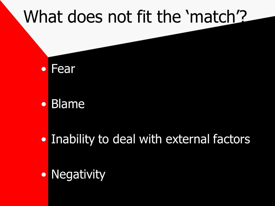 What does not fit the 'match'? Fear Blame Inability to deal with external factors Negativity