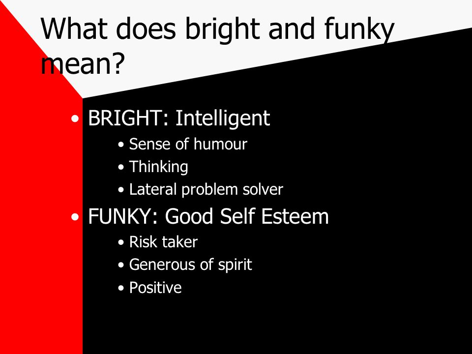 What does bright and funky mean? BRIGHT: Intelligent Sense of humour Thinking Lateral problem solver FUNKY: Good Self Esteem Risk taker Generous of sp