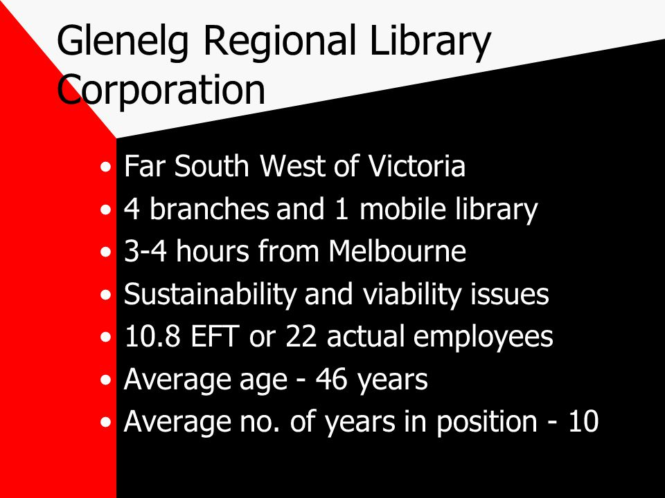 Glenelg Regional Library Corporation Far South West of Victoria 4 branches and 1 mobile library 3-4 hours from Melbourne Sustainability and viability