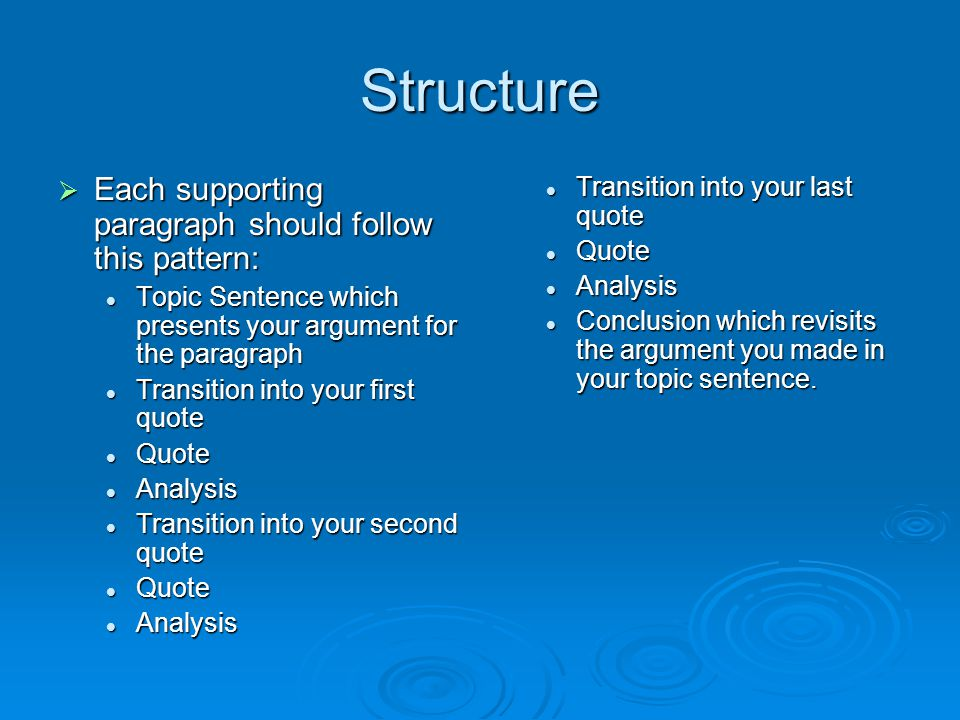 Structure  Each supporting paragraph should follow this pattern: Topic Sentence which presents your argument for the paragraph Topic Sentence which presents your argument for the paragraph Transition into your first quote Transition into your first quote Quote Quote Analysis Analysis Transition into your second quote Transition into your second quote Quote Quote Analysis Analysis Transition into your last quote Quote Analysis Conclusion which revisits the argument you made in your topic sentence.