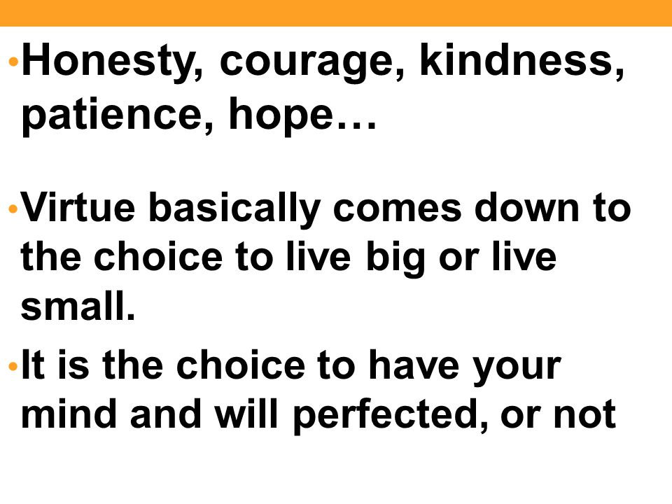 Honesty, courage, kindness, patience, hope… Virtue basically comes down to the choice to live big or live small.