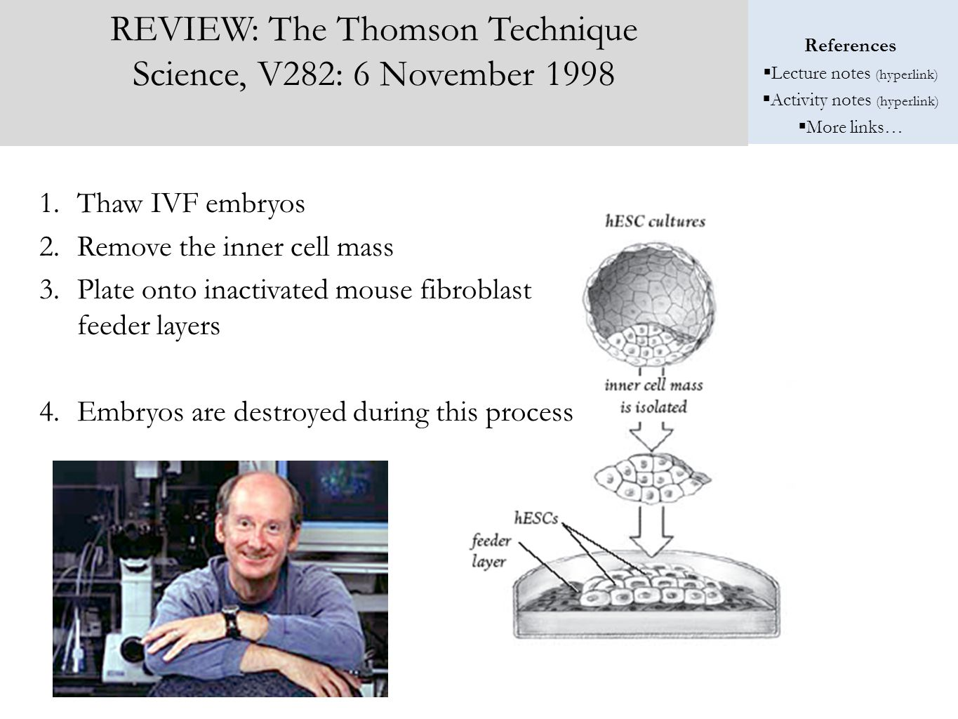 References  Lecture notes (hyperlink)  Activity notes (hyperlink)  More links… REVIEW: The Thomson Technique Science, V282: 6 November 1998 1.Thaw IVF embryos 2.Remove the inner cell mass 3.Plate onto inactivated mouse fibroblast feeder layers 4.Embryos are destroyed during this process