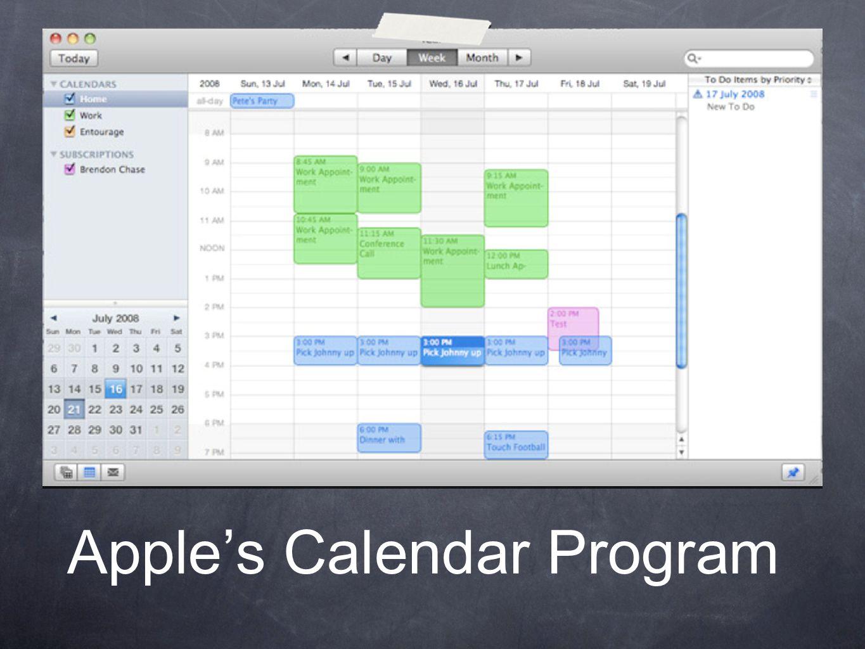 Apple's Calendar Program