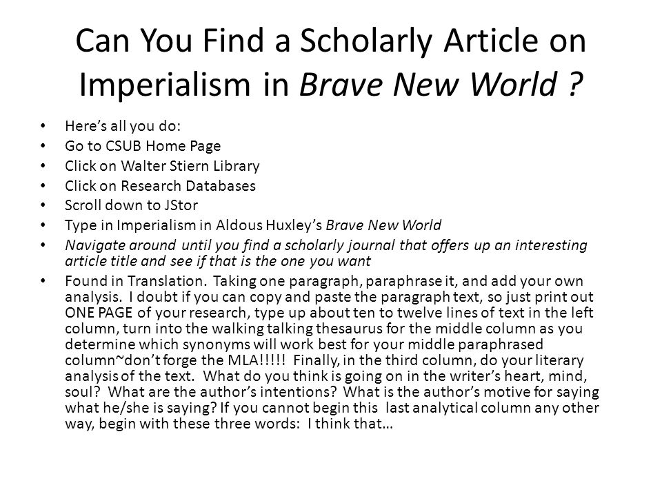 Can You Find a Scholarly Article on Imperialism in Brave New World .