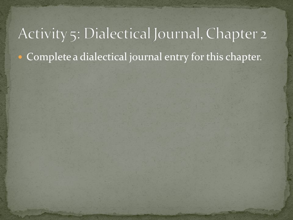 Complete a dialectical journal entry for this chapter.
