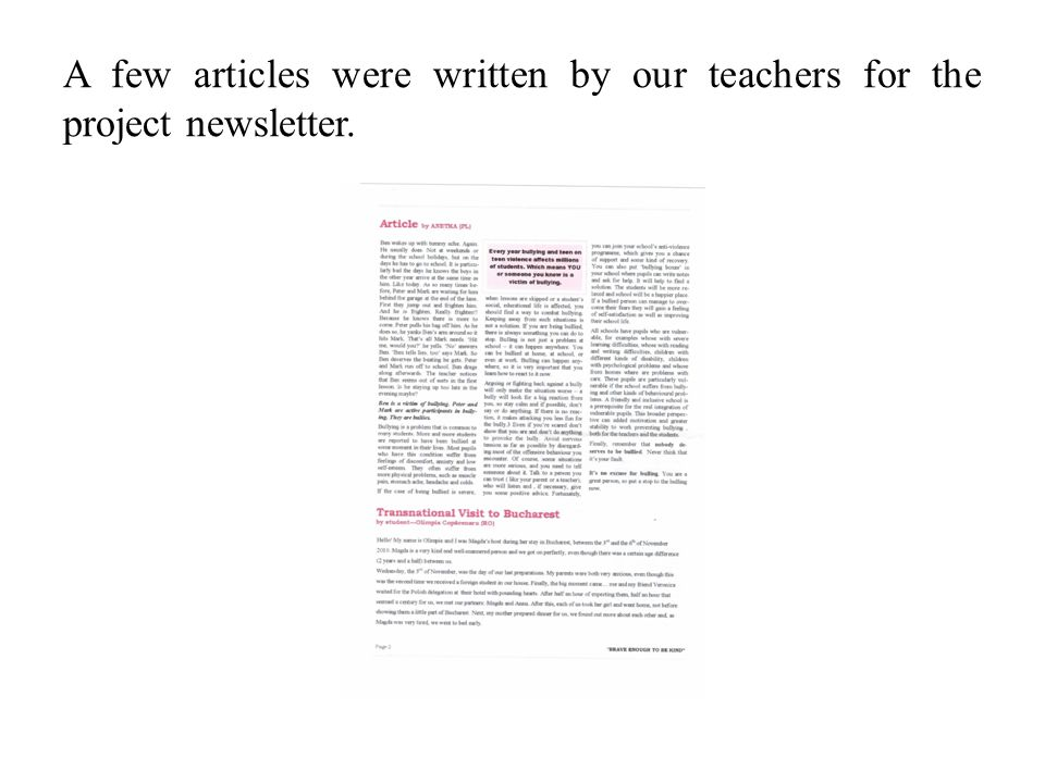 A few articles were written by our teachers for the project newsletter.