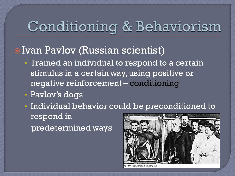  Ivan Pavlov (Russian scientist) Trained an individual to respond to a certain stimulus in a certain way, using positive or negative reinforcement – conditioning Pavlov's dogs Individual behavior could be preconditioned to respond in predetermined ways