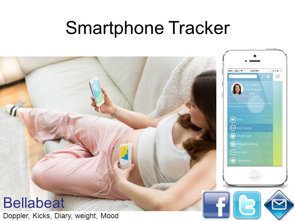 Smartphone Tracker Bellabeat Doppler, Kicks, Diary, weight, Mood