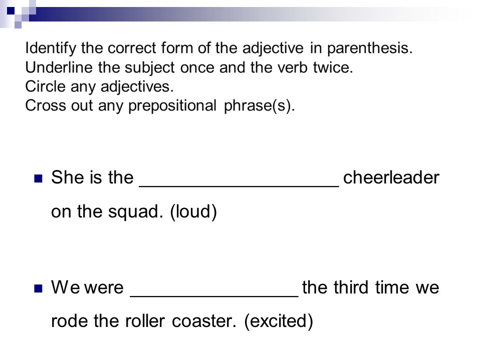Identify the correct form of the adjective in parenthesis.
