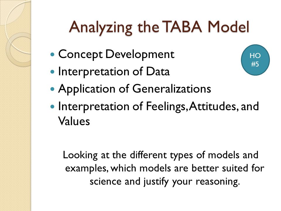 Analyzing the TABA Model Concept Development Interpretation of Data Application of Generalizations Interpretation of Feelings, Attitudes, and Values Looking at the different types of models and examples, which models are better suited for science and justify your reasoning.
