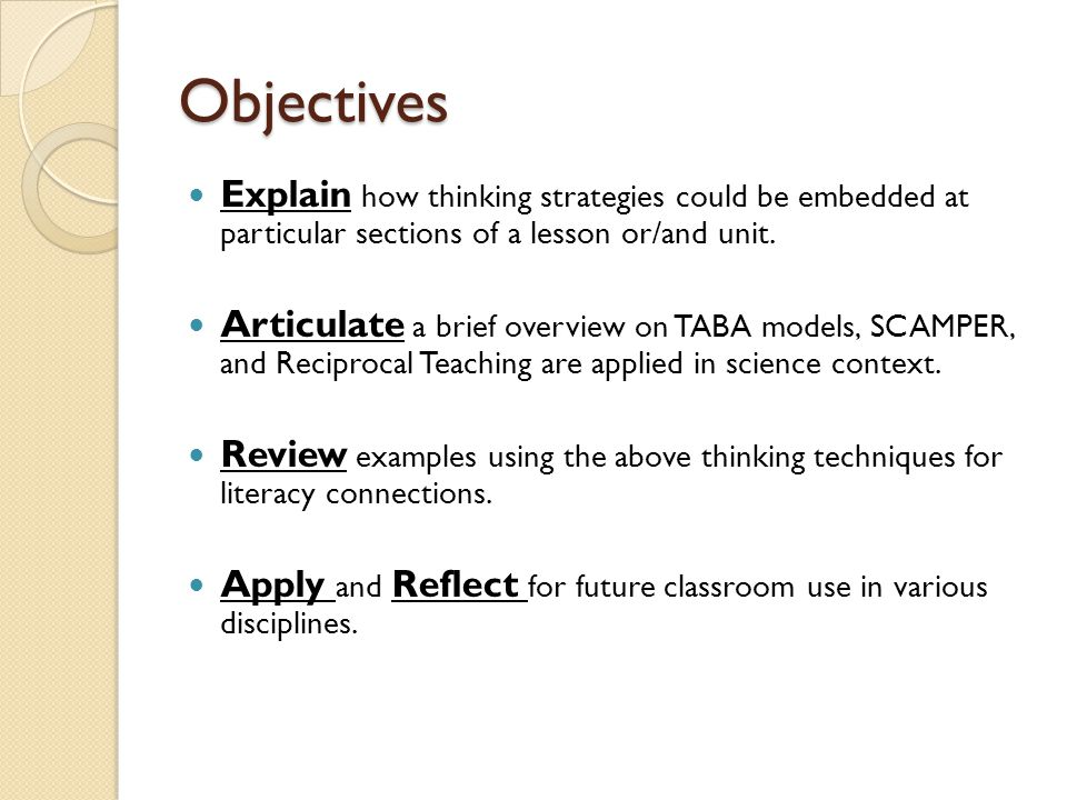 Objectives Explain how thinking strategies could be embedded at particular sections of a lesson or/and unit.
