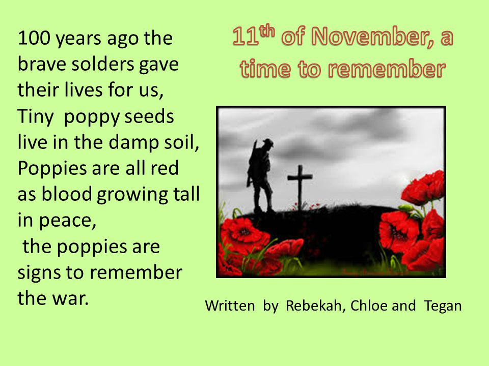 100 years ago the brave solders gave their lives for us, Tiny poppy seeds live in the damp soil, Poppies are all red as blood growing tall in peace, t