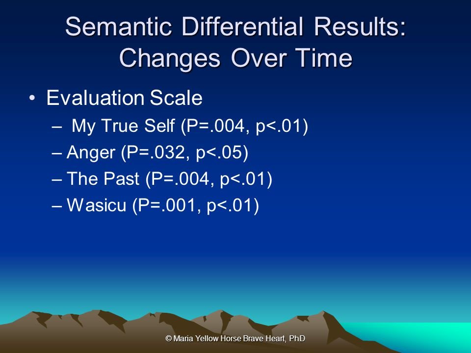 © Maria Yellow Horse Brave Heart, PhD Semantic Differential Results: Changes Over Time Evaluation Scale – My True Self (P=.004, p<.01) –Anger (P=.032,