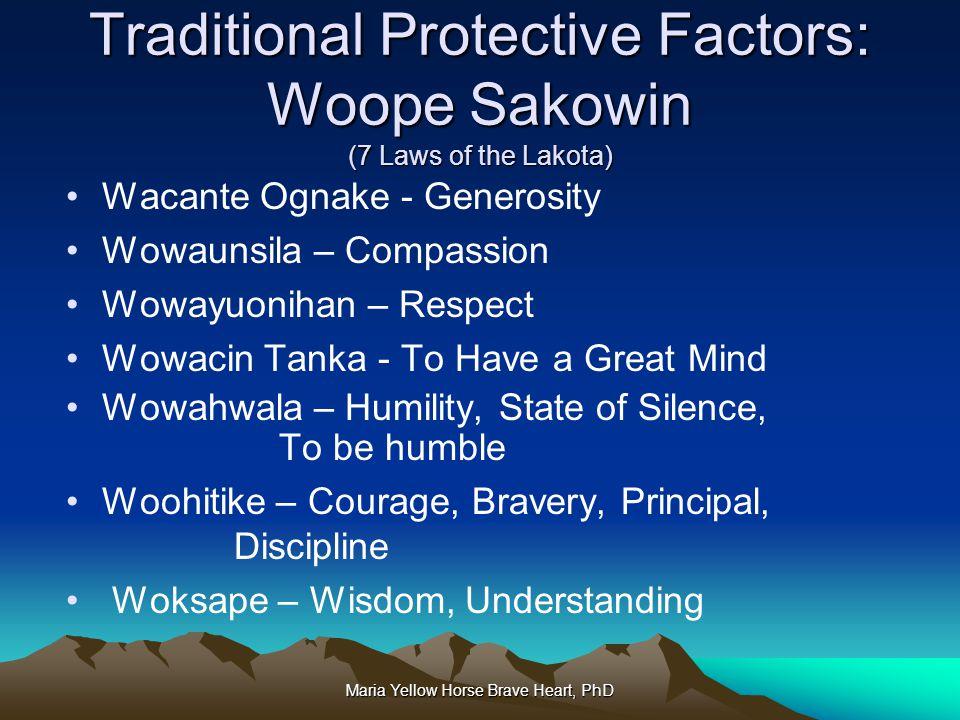 Maria Yellow Horse Brave Heart, PhD Traditional Protective Factors: Woope Sakowin (7 Laws of the Lakota) Wacante Ognake - Generosity Wowaunsila – Comp