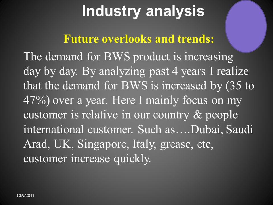 Industry analysis Future overlooks and trends: The demand for BWS product is increasing day by day.