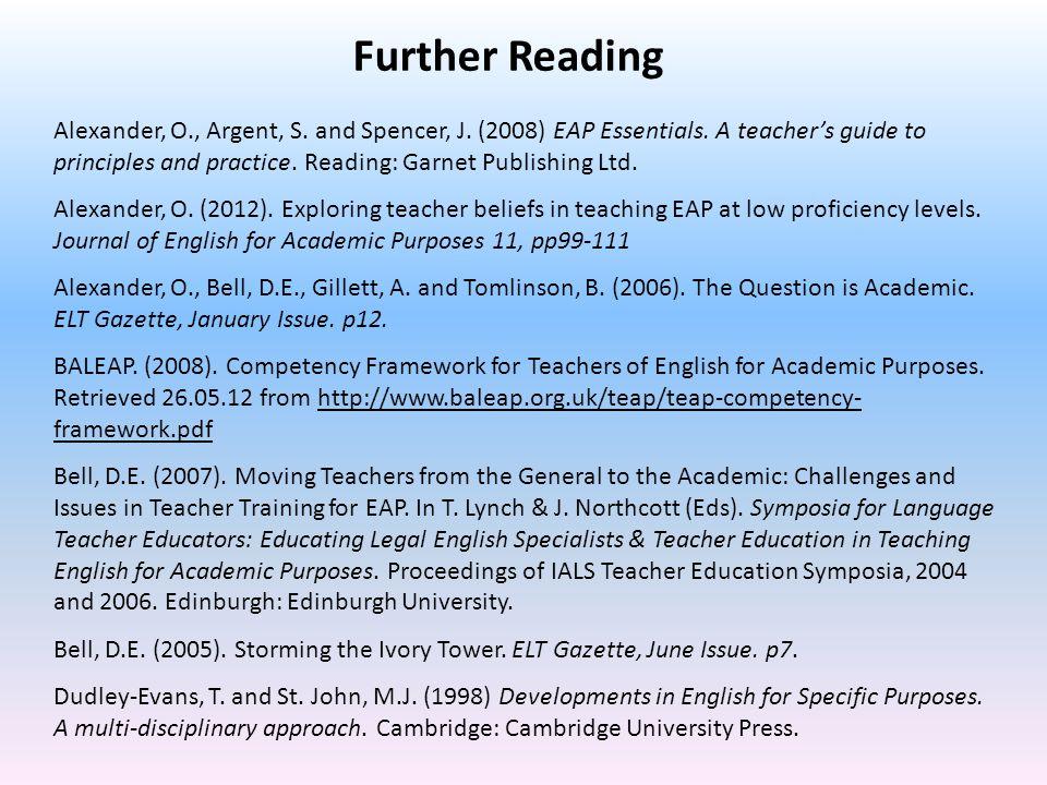 Alexander, O., Argent, S. and Spencer, J. (2008) EAP Essentials.