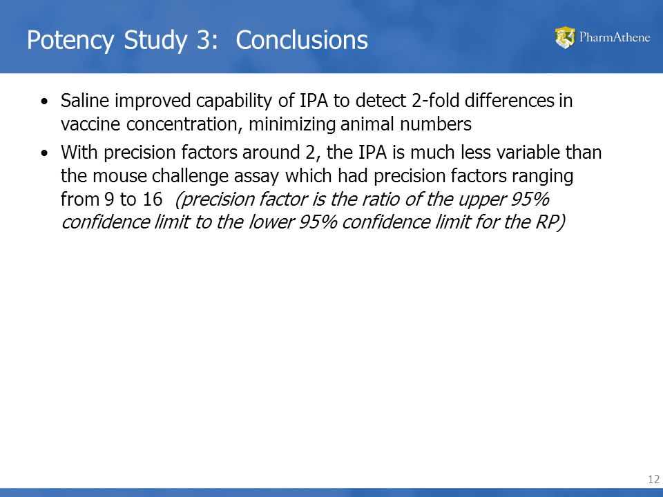 12 Potency Study 3: Conclusions Saline improved capability of IPA to detect 2-fold differences in vaccine concentration, minimizing animal numbers With precision factors around 2, the IPA is much less variable than the mouse challenge assay which had precision factors ranging from 9 to 16 (precision factor is the ratio of the upper 95% confidence limit to the lower 95% confidence limit for the RP)