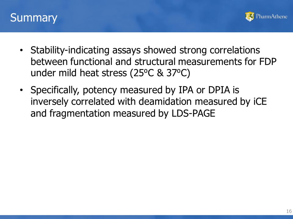16 Summary Stability-indicating assays showed strong correlations between functional and structural measurements for FDP under mild heat stress (25 ⁰ C & 37 ⁰ C) Specifically, potency measured by IPA or DPIA is inversely correlated with deamidation measured by iCE and fragmentation measured by LDS-PAGE
