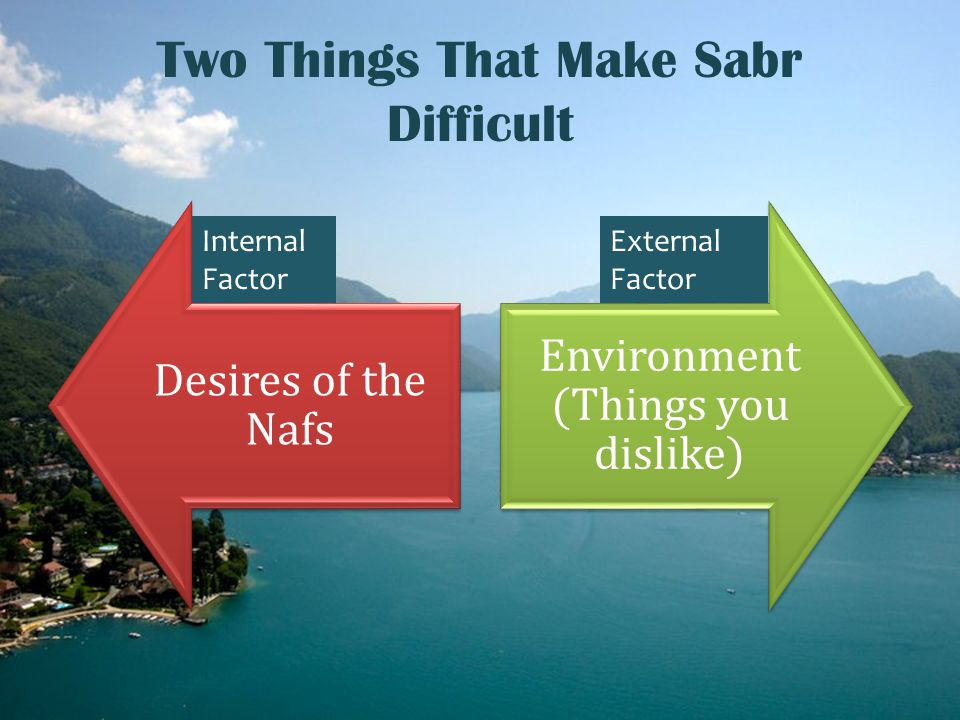 Two Things That Make Sabr Difficult Desires of the Nafs Environment (Things you dislike) Internal Factor External Factor