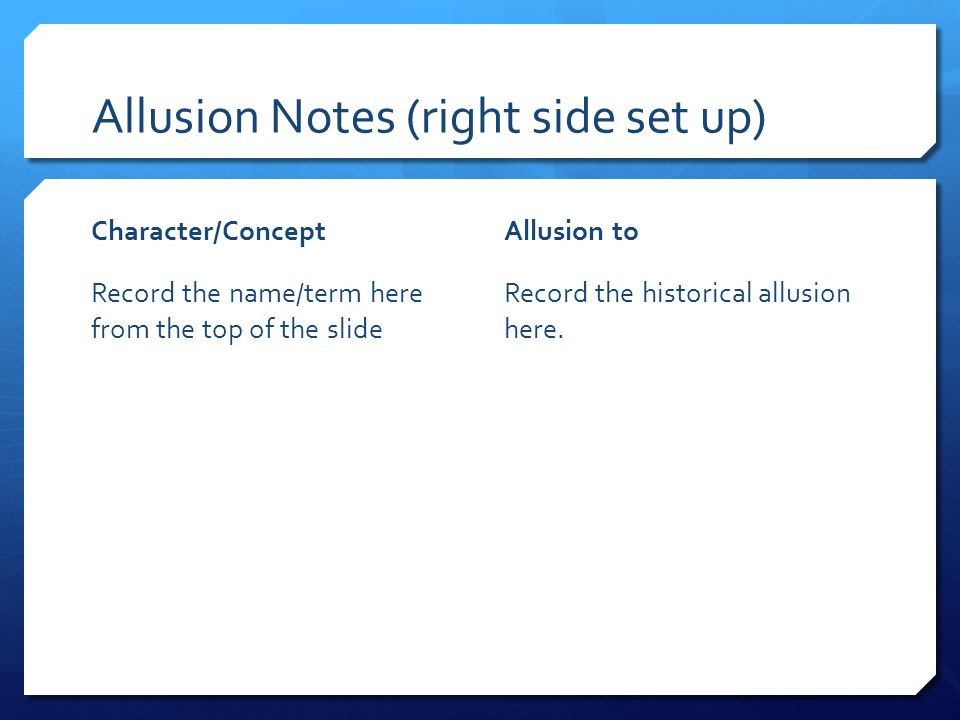 Allusion Notes (right side set up) Character/Concept Record the name/term here from the top of the slide Allusion to Record the historical allusion here.