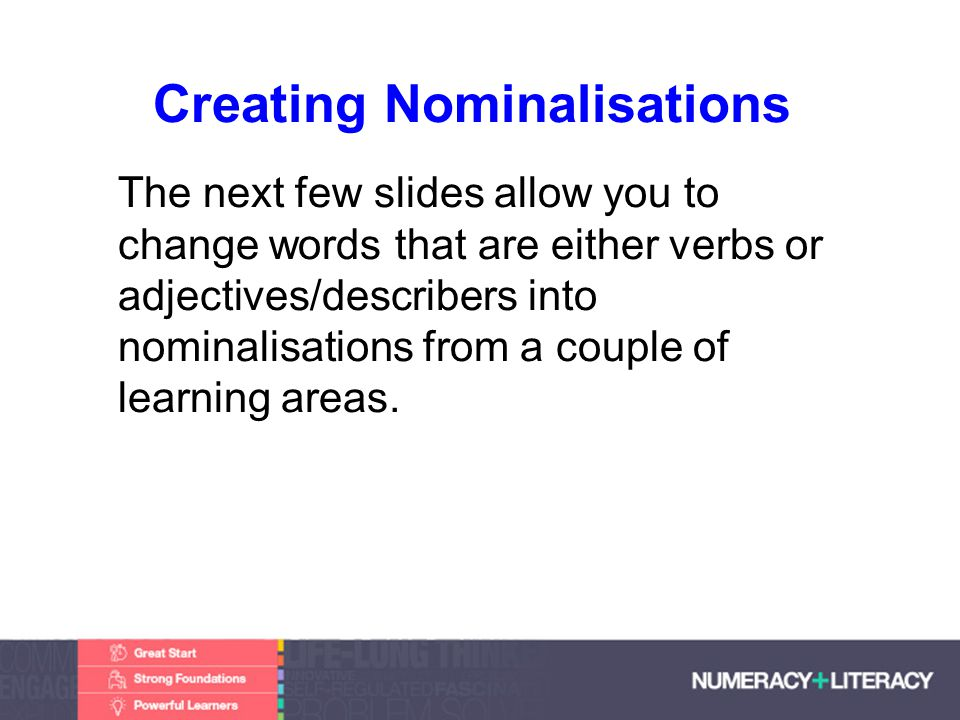 Faculty of Edit this on the Slide MasterThe University of Adelaide Creating Nominalisations The next few slides allow you to change words that are either verbs or adjectives/describers into nominalisations from a couple of learning areas.