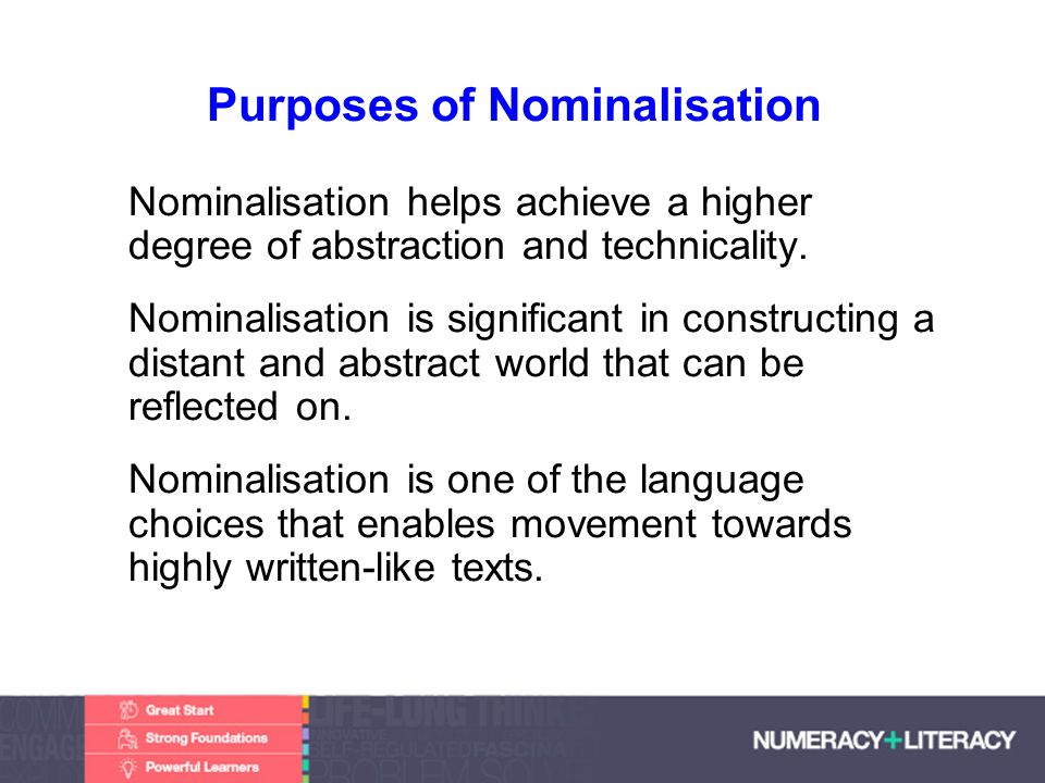 Faculty of Edit this on the Slide MasterThe University of Adelaide Purposes of Nominalisation Nominalisation helps achieve a higher degree of abstraction and technicality.