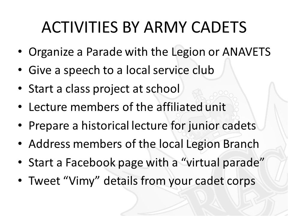 ACTIVITIES BY ARMY CADETS Organize a Parade with the Legion or ANAVETS Give a speech to a local service club Start a class project at school Lecture m